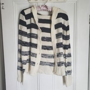 Navy and White Striped Hooded Knit Cardigan